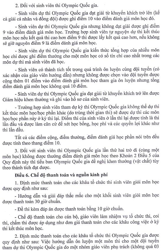 Quy định về thi sinh viên giỏi môn học và thi olympic quốc gia